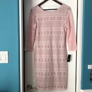 Never worn pale pink lace dress with lining